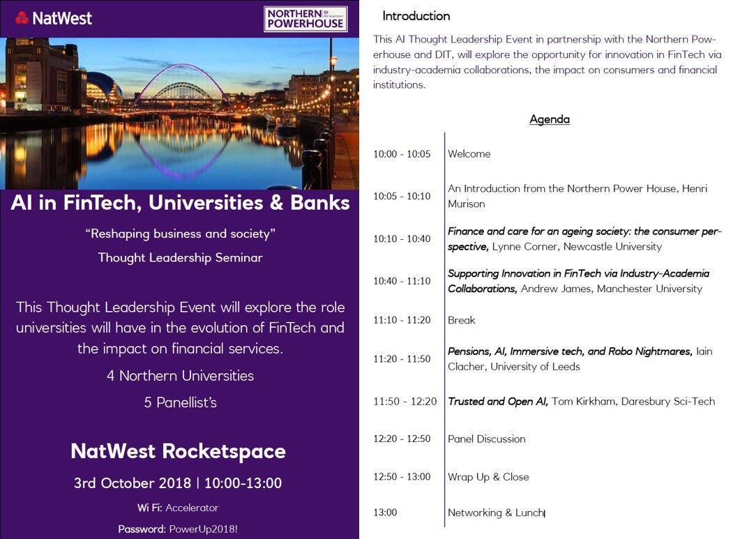 NatWest and Northern Powerhouse – AI in FinTech: Universities & Banks Event