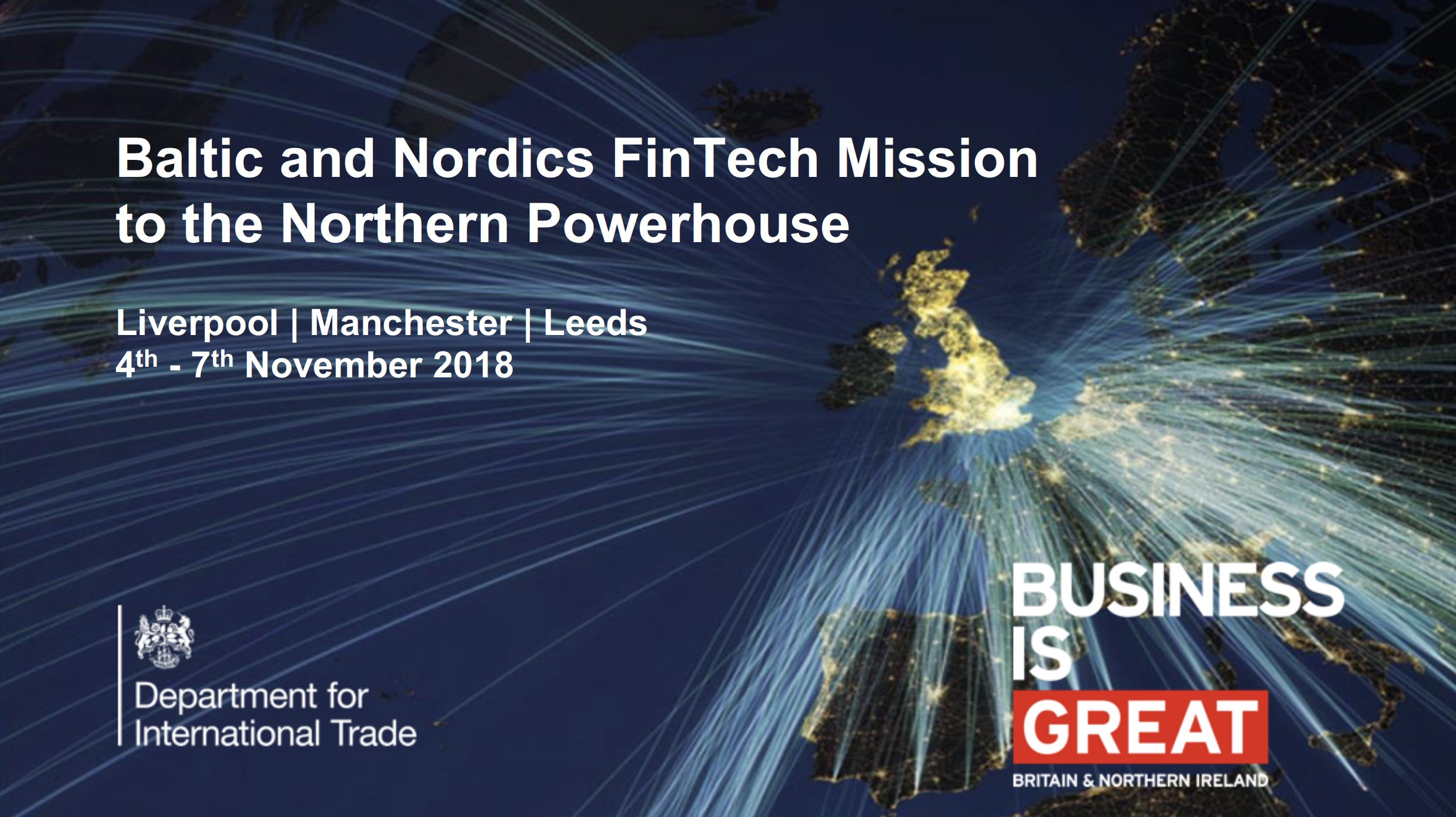 FinTech North to host trilogy of events for Nordic and Baltic FinTech delegation in November