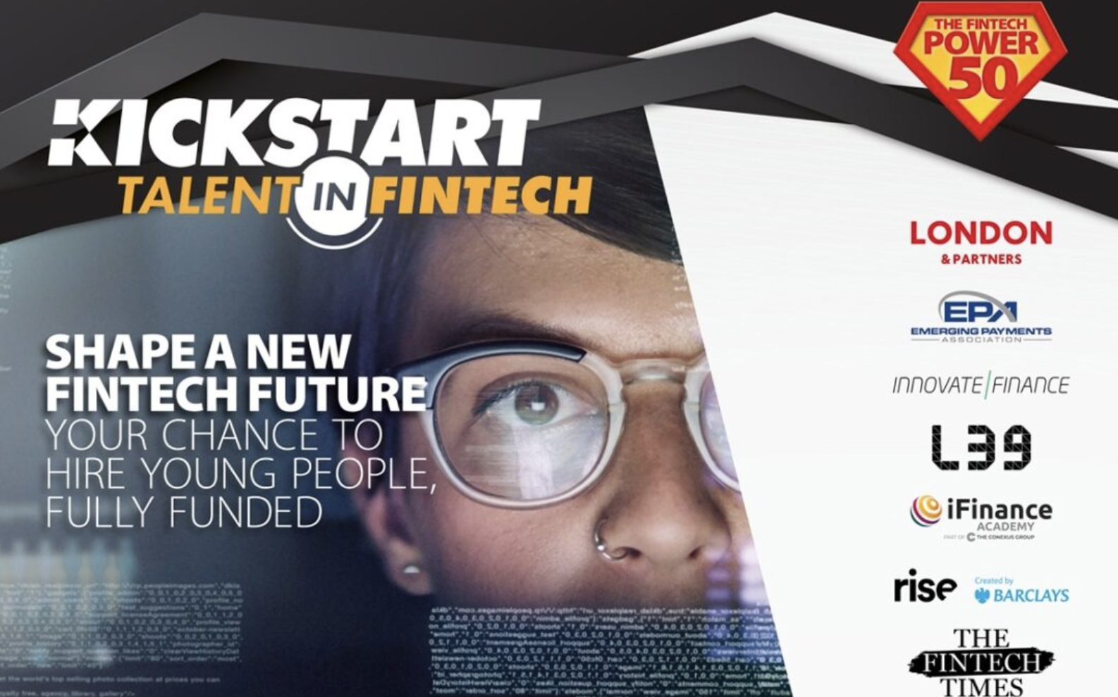 The FinTech Power 50 launches the FinTech KICKSTART scheme to provide employment opportunities for young people